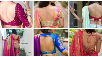 Photo of Deep Back Neck Blouse Designs For Sarees