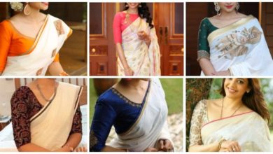 Photo of Plain saree with designer blouse