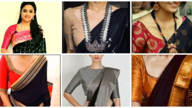 Photo of Latest Black Silk Sari With Different Contrast Colored Blouses