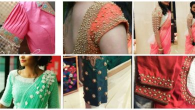 Photo of Pearl work blouse hand designs