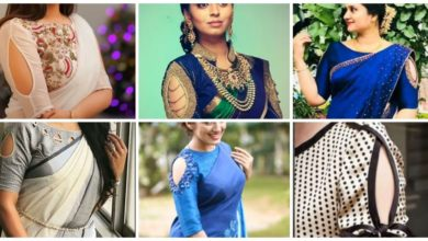 Photo of Stylish sari blouse designs with keyhole pattern on sleeves
