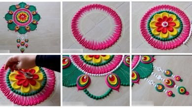 Photo of Simple peacock feather rangoli designs with colours