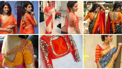 Photo of Pretty Orange Blouse Designs For Sarees Here