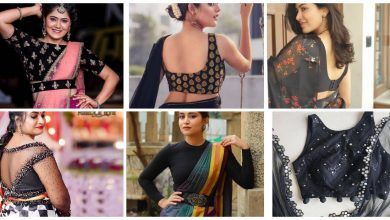 Photo of Black Saree Contrast Blouse Designs