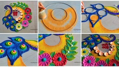 Photo of Easy peacock rangoli designs for diwali Dhanteras/navratri Durga Puja rangolis
