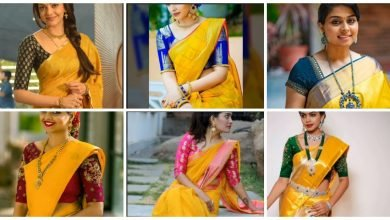 Photo of Yellow Silk Saree With Contrast Blouse Collection