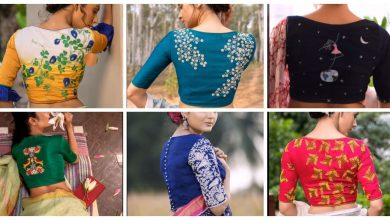 Photo of Embroidered blouse back neck designs