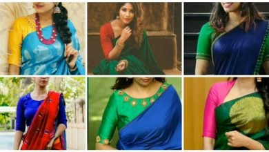 Photo of Contrast colour combination for saree and blouse