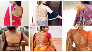 Photo of Deep back neck blouse designs