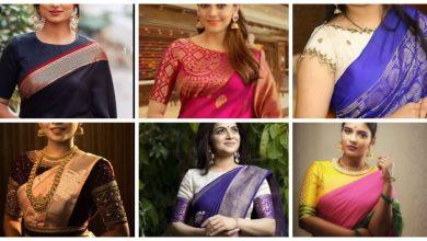 Photo of High neck silk saree blouse design