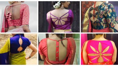 Photo of party wear plain fabric designer blouse designs idea