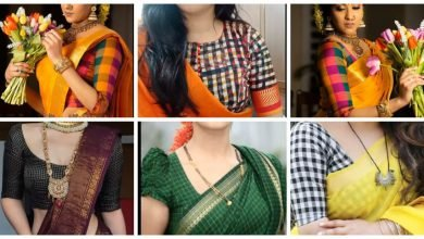 Photo of Multicolored checked blouse designs
