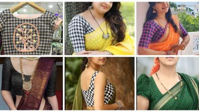 Photo of Checked blouse designs