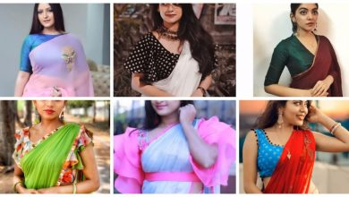 Photo of Plain Saree designs with contrast matching blouse ideas