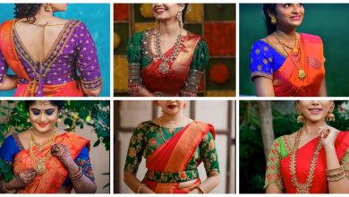 Photo of Red Saree contrast blouse design