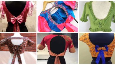 Photo of New bow back neck blouse designs simple