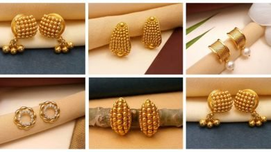 Photo of Pretty pure gold stud earrings designs for dailywear